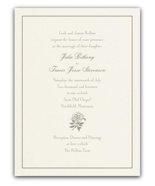 Letterpress Rose Wedding Invitation